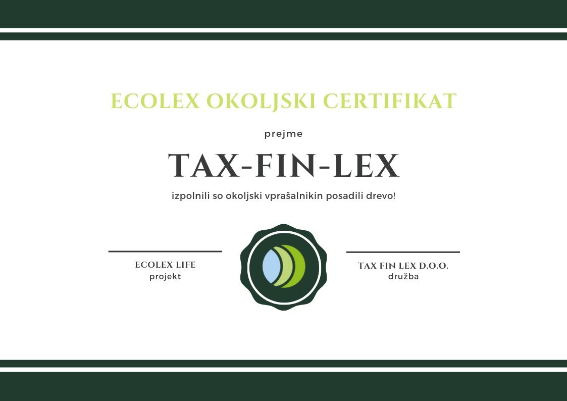 ecolex okoljski certifikat